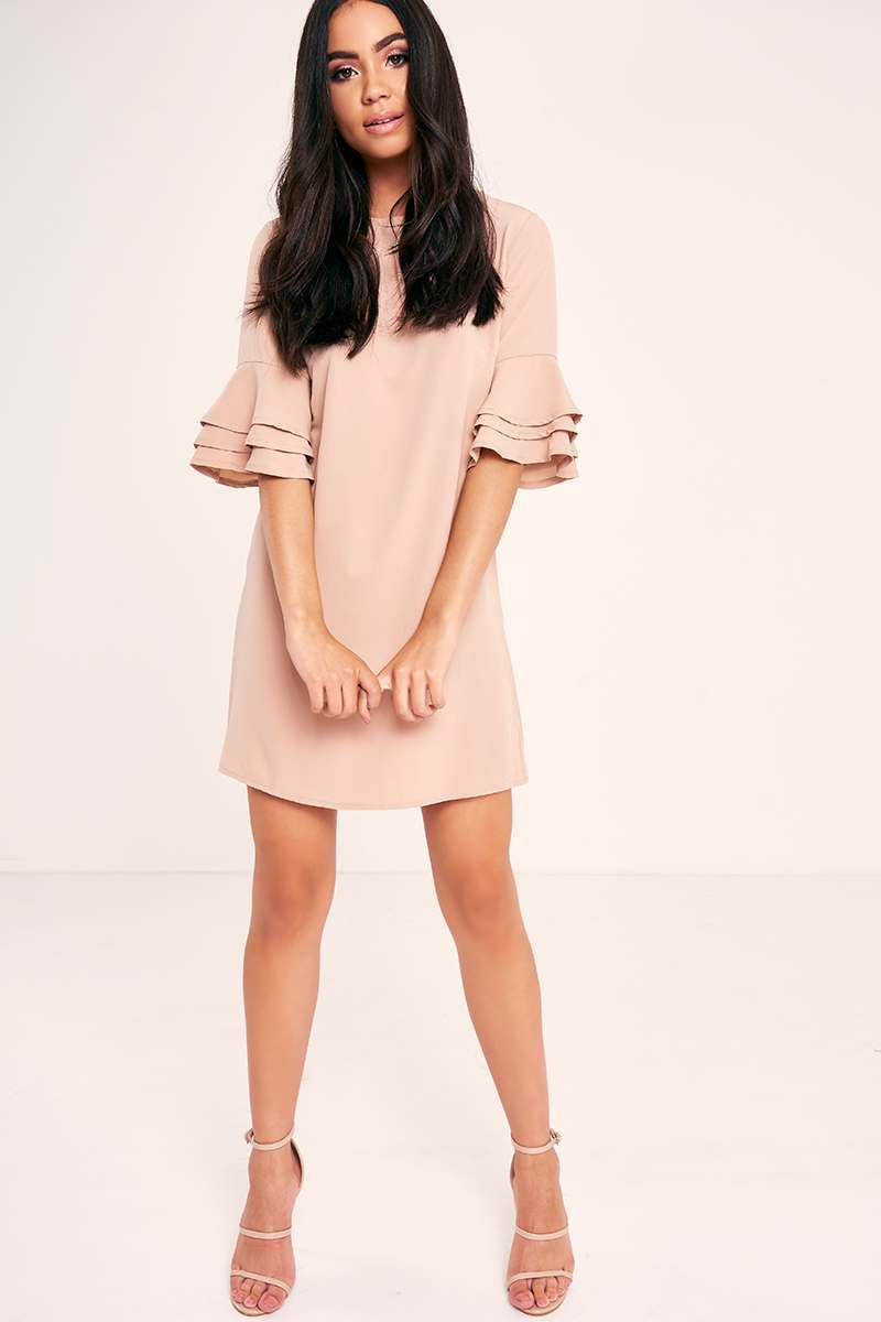 BINKY NUDE FRILL SLEEVE SHIFT DRESS