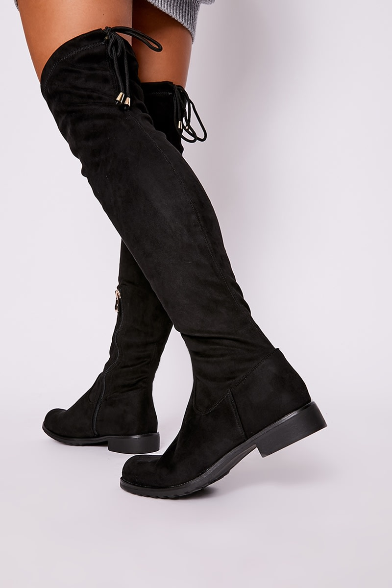 black faux suede thigh high boots