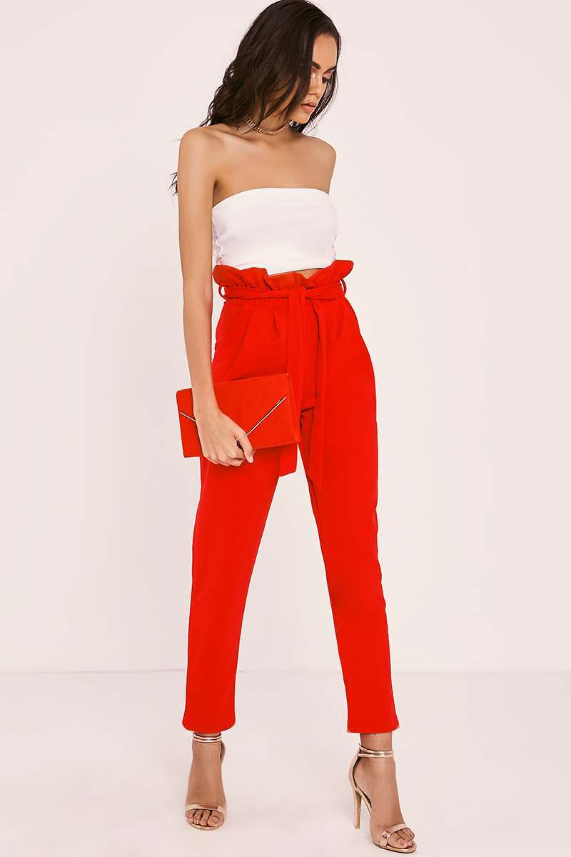 CODIA RED PAPERBAG SKINNY TROUSERS