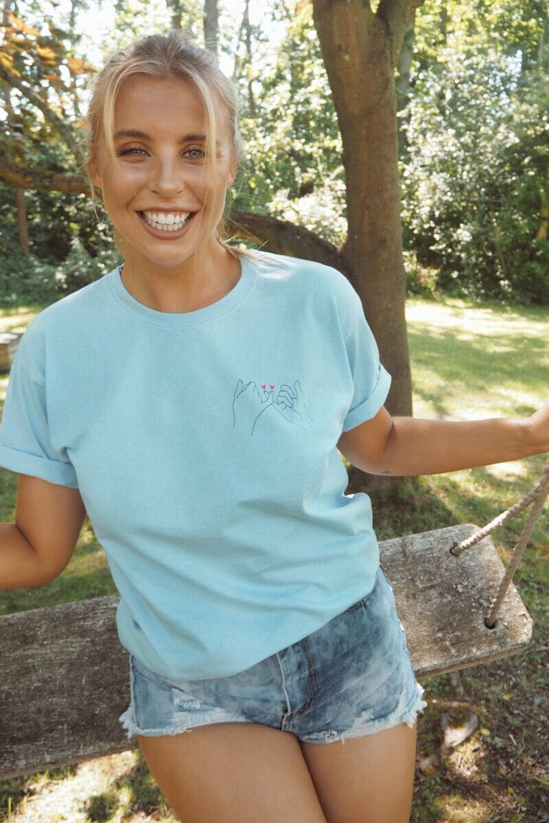 CHESSIE KING BLUE 'PINKY PROMISE' BOYFRIEND FIT T SHIRT