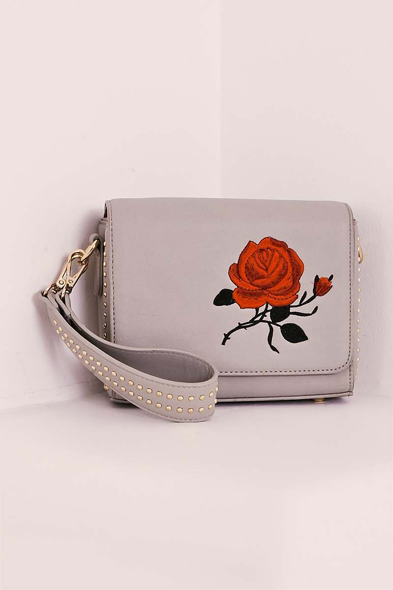 GREY FAUX LEATHER EMBROIDERED BAG