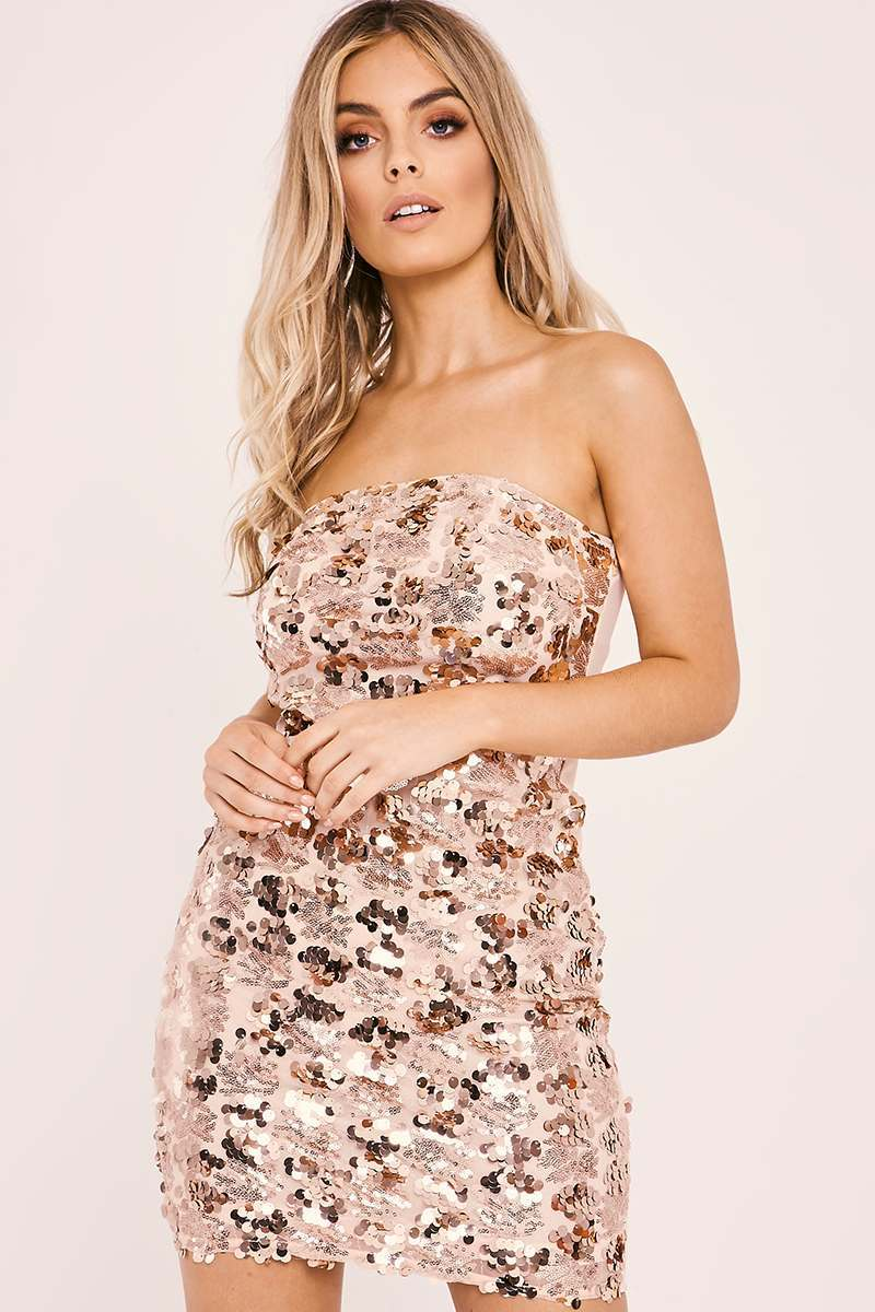 AFIA ROSE GOLD SEQUIN STRAPLESS DRESS