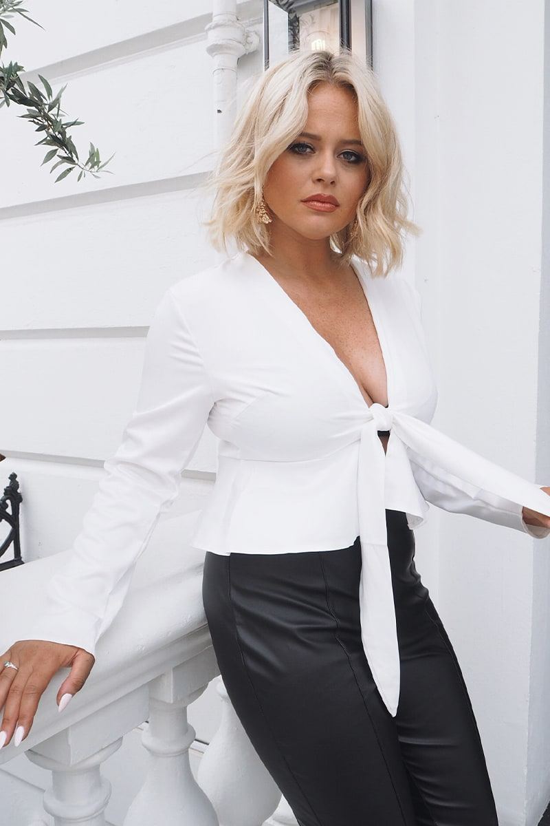 Emily Atack White Satin Tie Front Top by In The Style