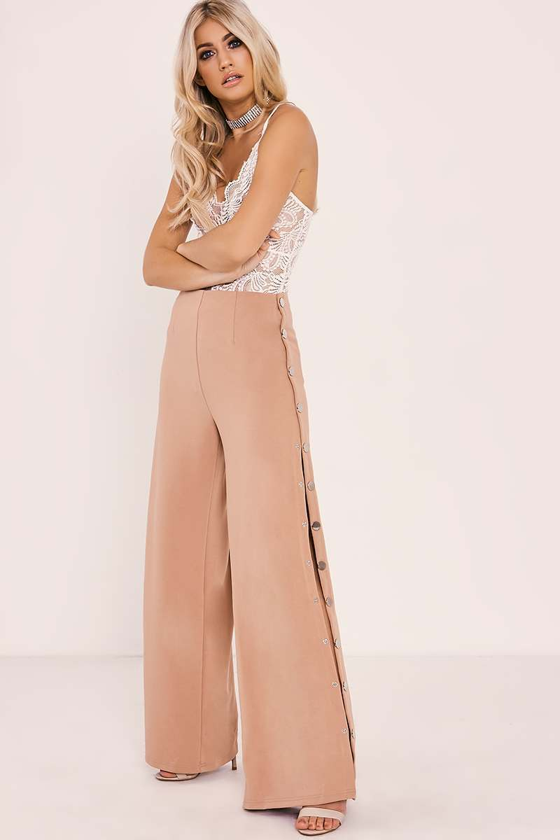 LINI NUDE POPPER DETAIL TROUSERS