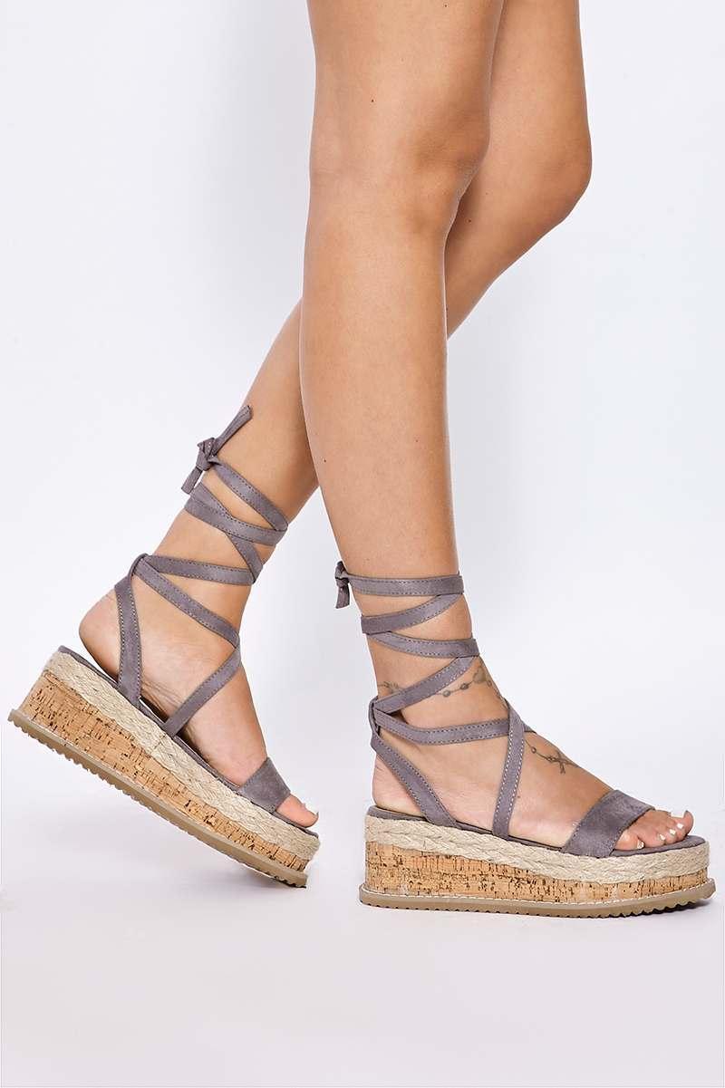 grey faux suede tie leg platform espadrilles