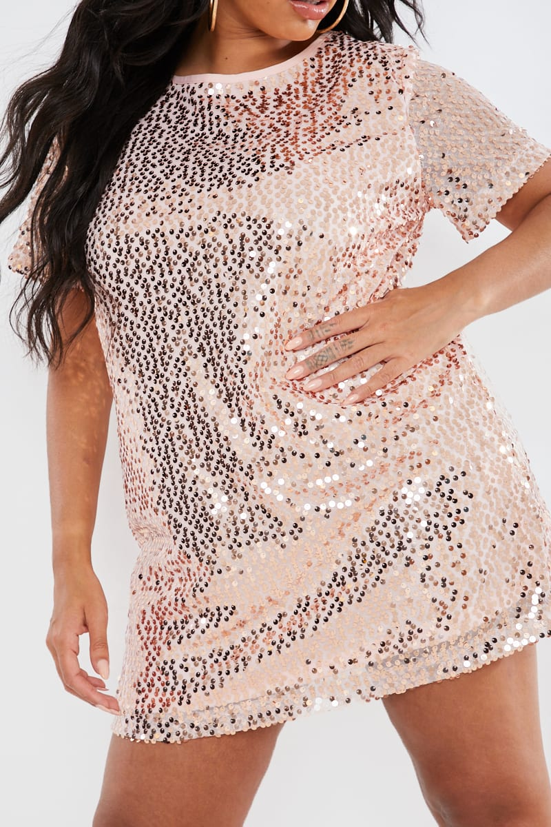 CURVE MADELINE ROSE GOLD SEQUIN T SHIRT DRESS