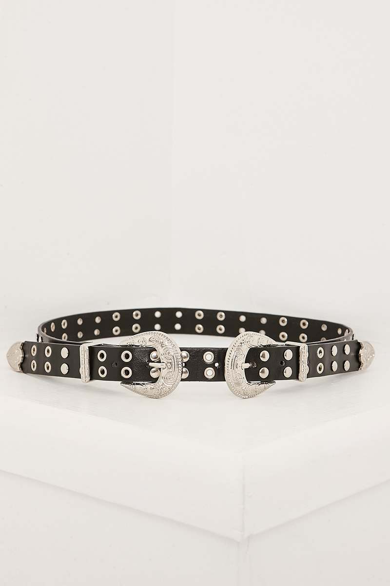 BLACK STUDDED DOUBLE BUCKLE WESTERN BELT