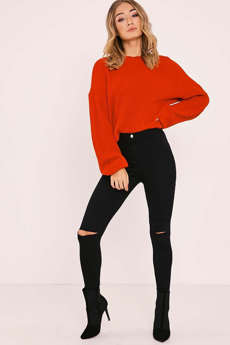 KESSIA BLACK HIGH WAISTED RIP KNEE JEANS