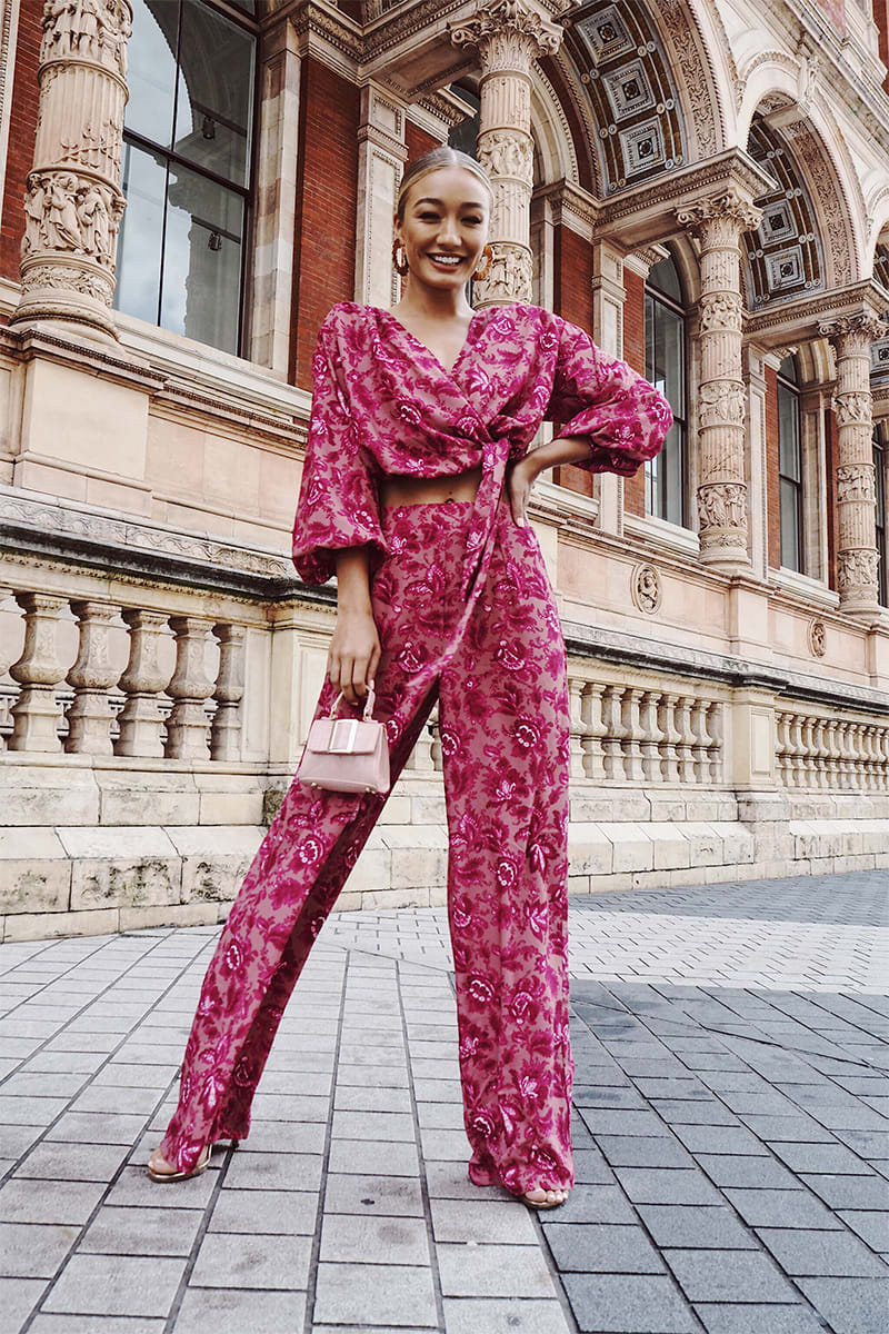 LAILA LOVES PINK FLORAL WIDE LEG TROUSERS