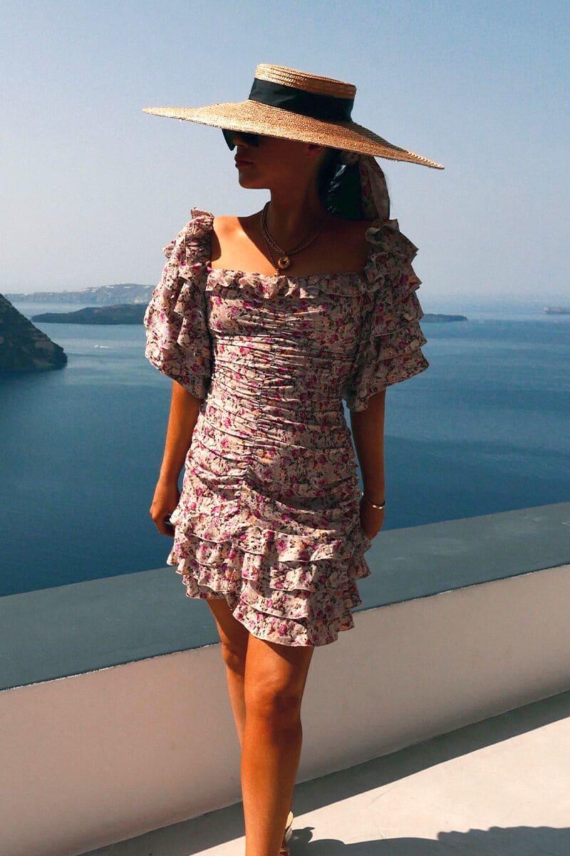 LORNA LUXE STONE 'ELIZA' SECRET GARDEN PRINT RUFFLE DRESS