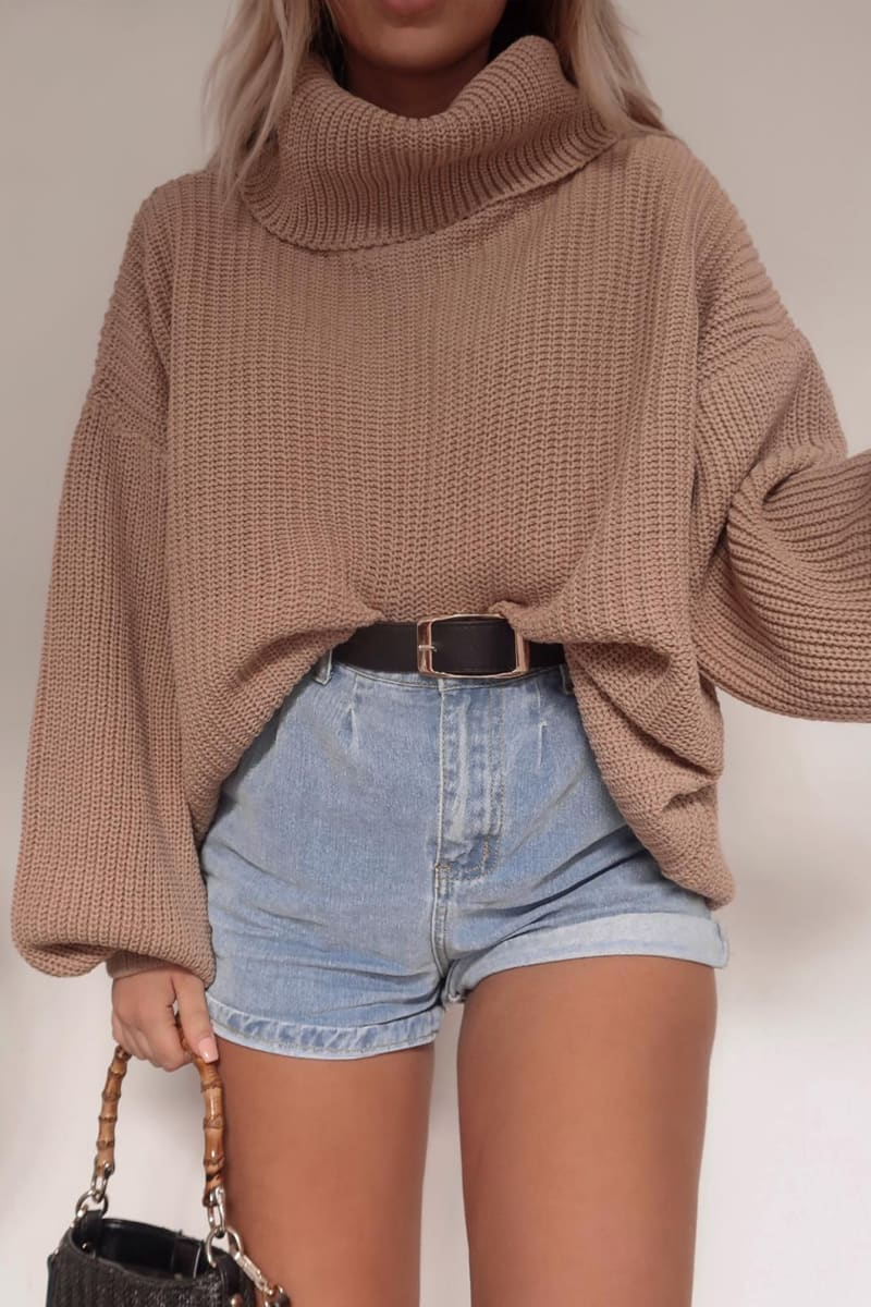 Fashion Influx Stone Roll Neck Slouchy Jumper by In The Style