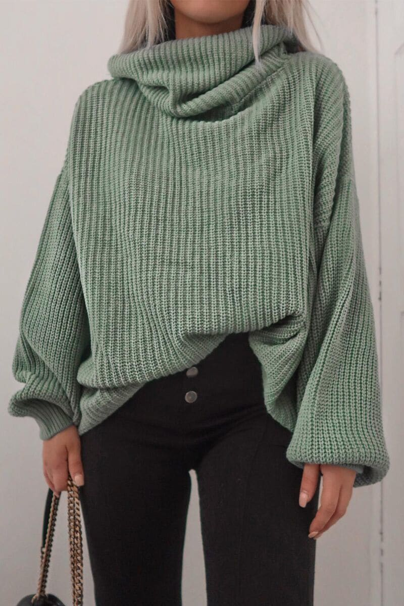 Fashion Influx Mint Roll Neck Slouchy Jumper by In The Style