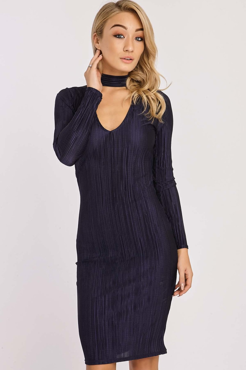 BRITNEY NAVY PLEATED SATIN CUT OUT CHOKER DRESS