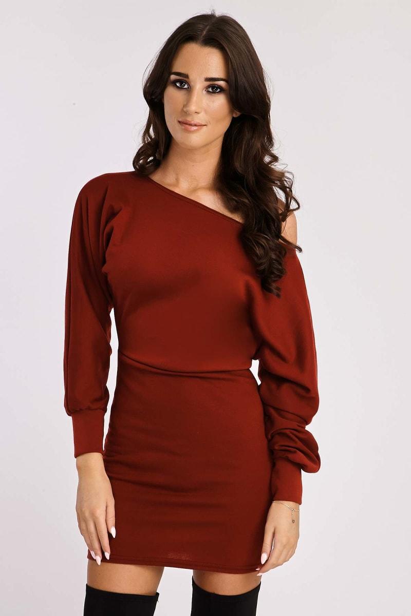 wine off shoulder sweater dress