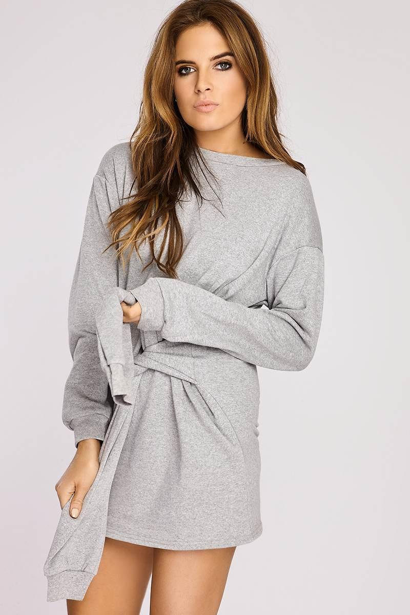 Binky Grey Tie Front Sweater Dress