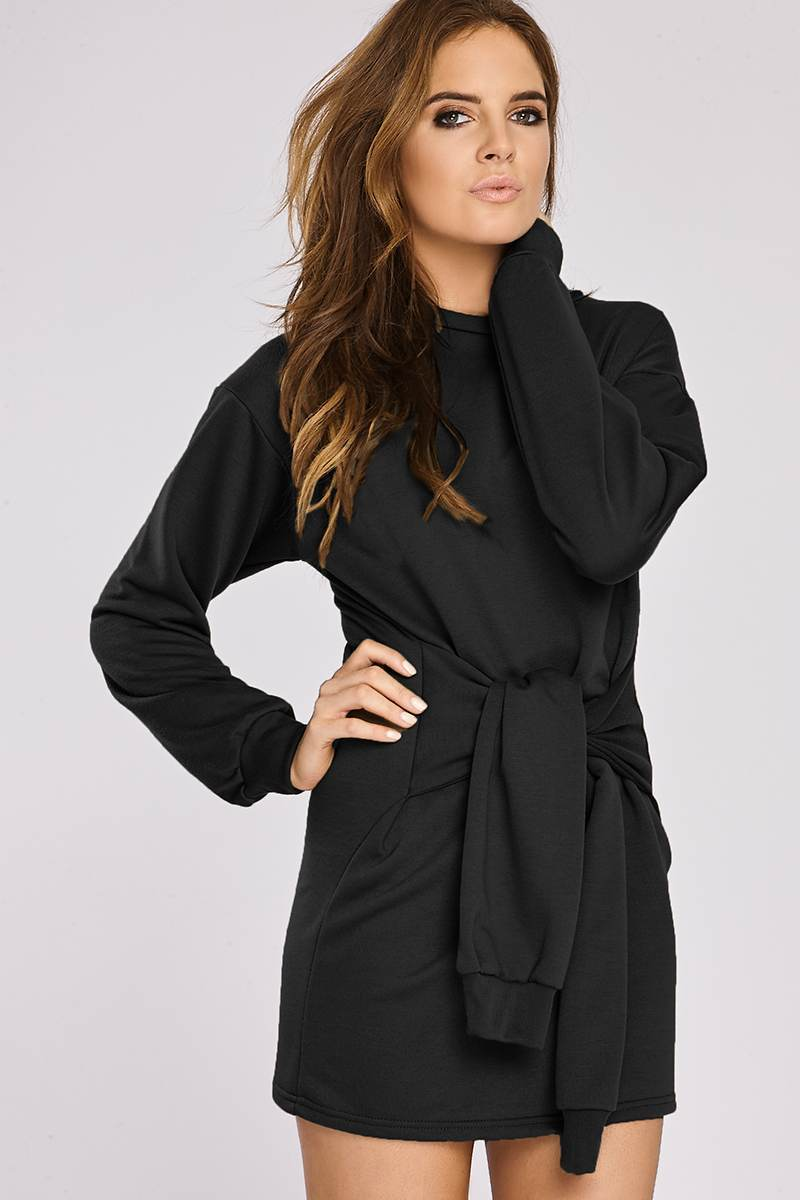 Binky Black Tie Front Sweater Dress