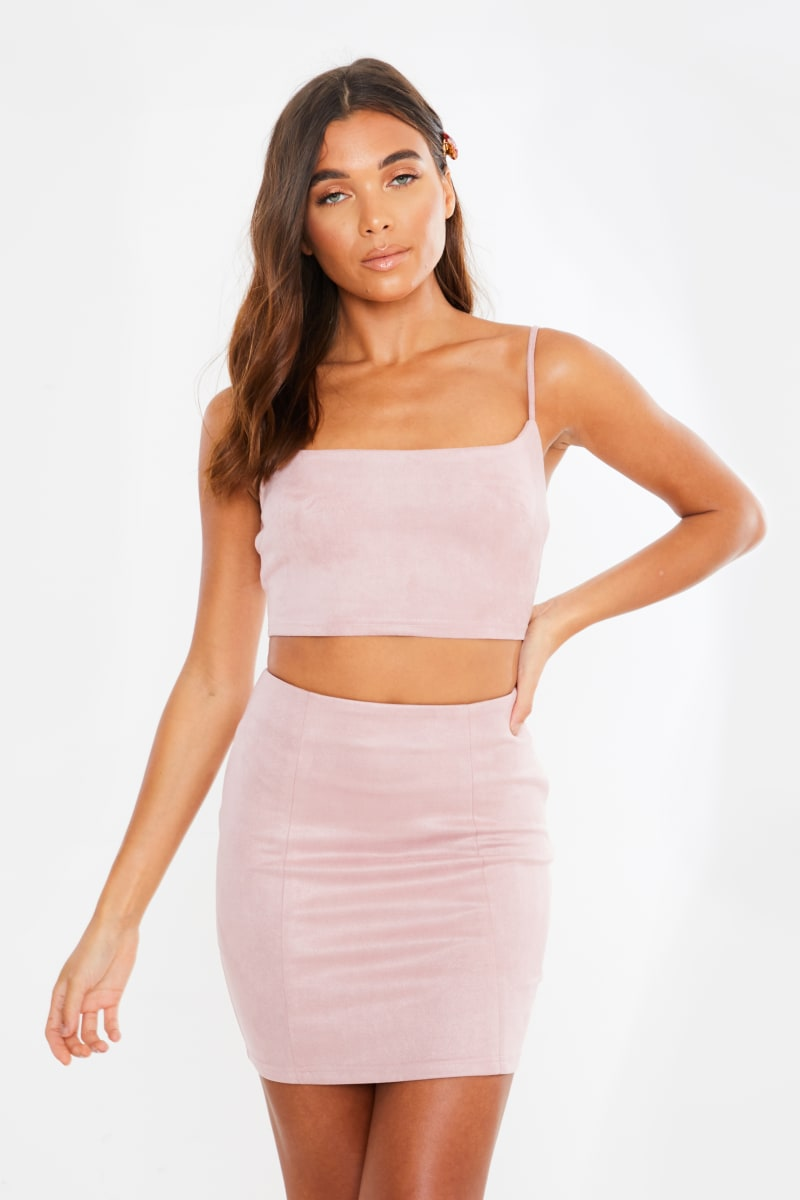 JUHI PINK FAUX SUEDE CAMI TOP AND SKIRT CO ORD