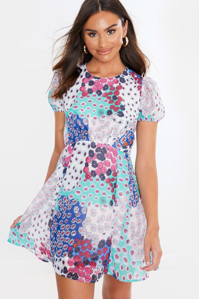 mixed floral print mini dress