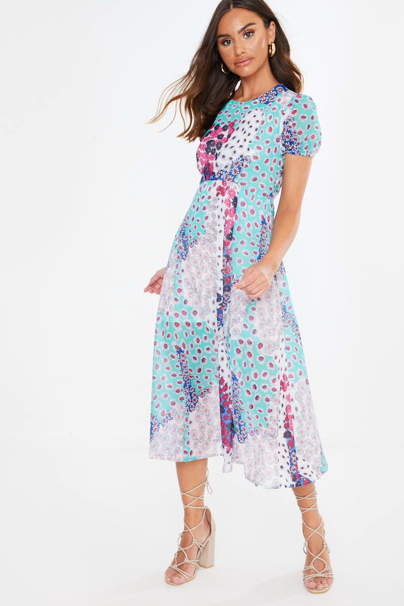 mixed floral print midaxi dress
