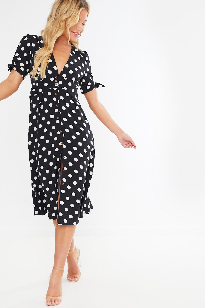 black polka button through midi dress