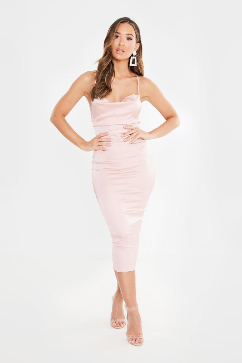 blush pink satin lace up back midi dress