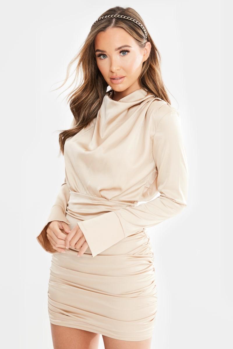gold satin ruched long sleeve mini dress