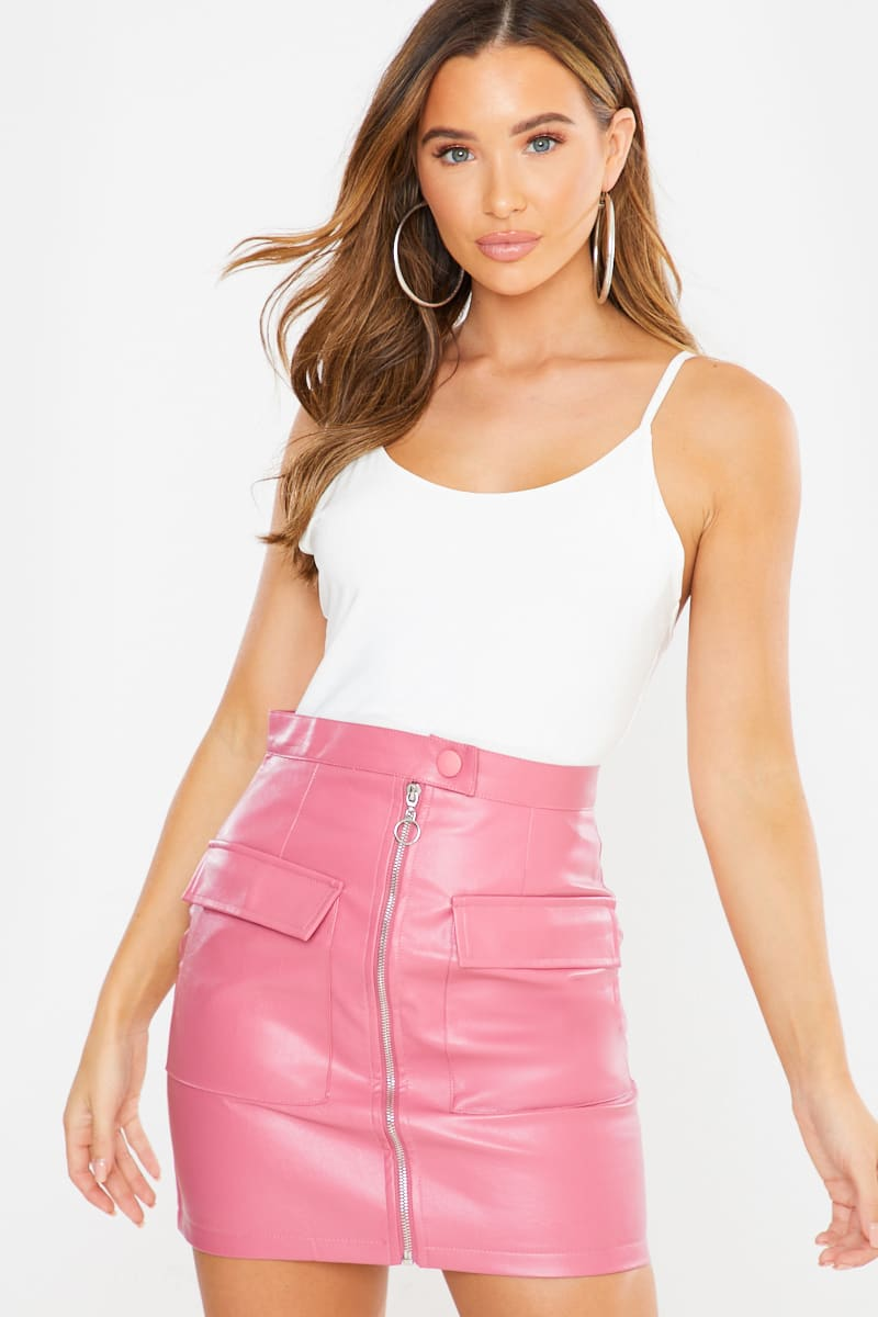 blush faux leather zip front mini skirt