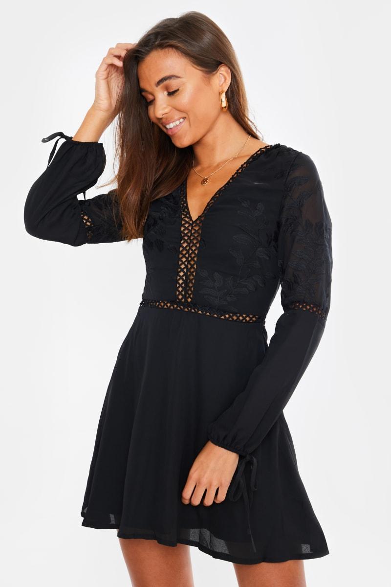 black embroidered lace tie sleeve mini dress