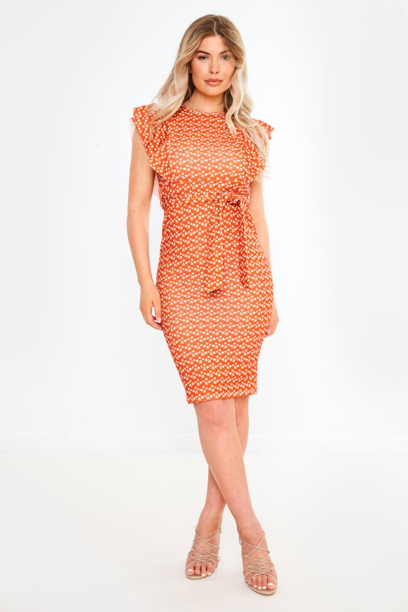 orange floral tie waist midi dress