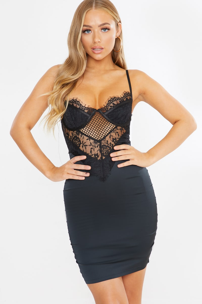 black satin and lace mix midi dress