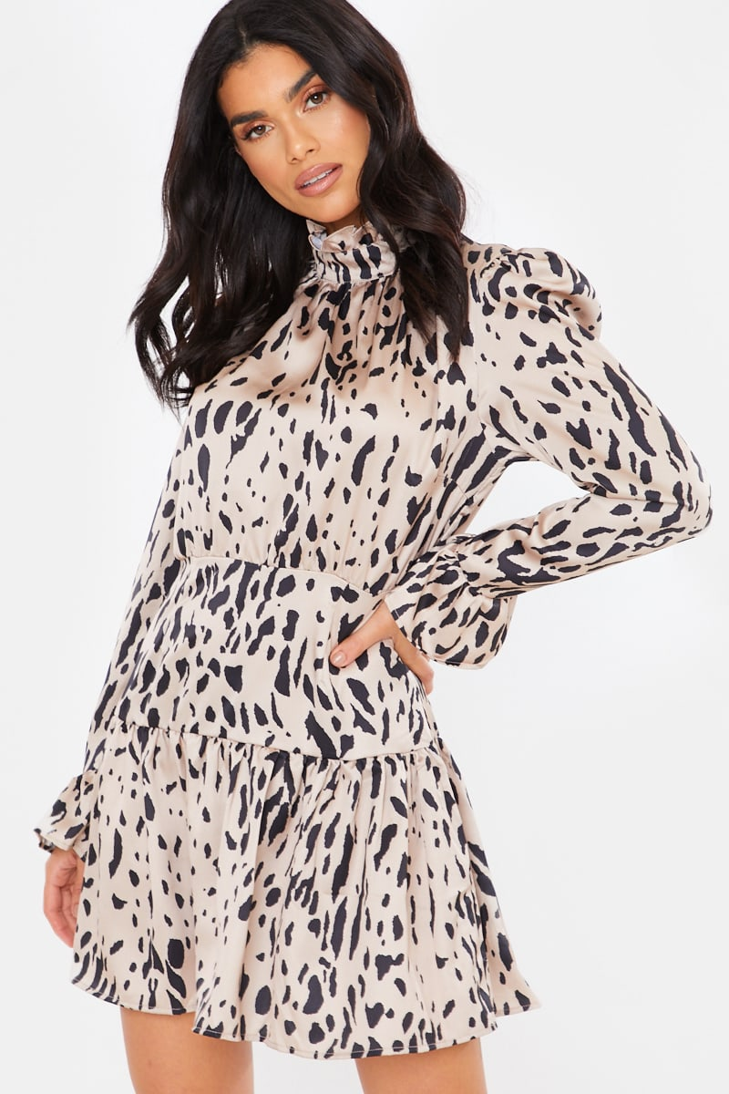 NUDE SATIN LEOPARD PRINT HIGH NECK SMOCK MINI DRESS