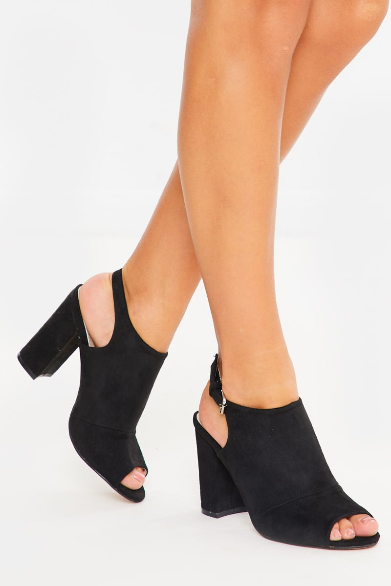 black suede peep toe heeled mules