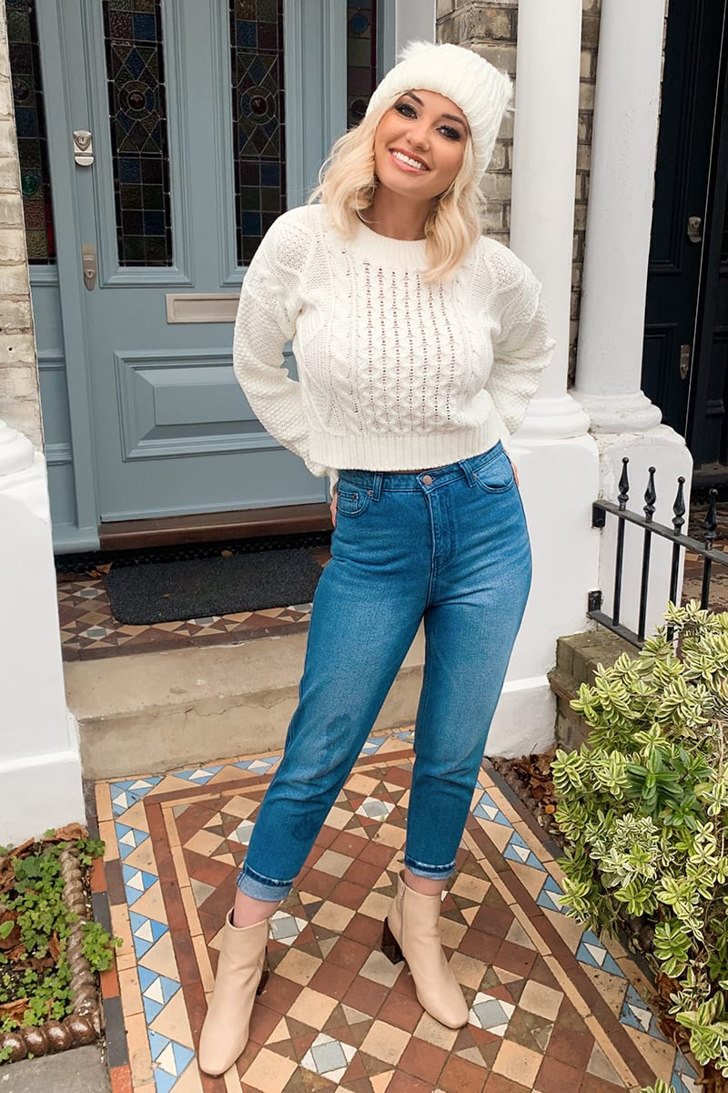 IVORY CABLE CROPPED JUMPER