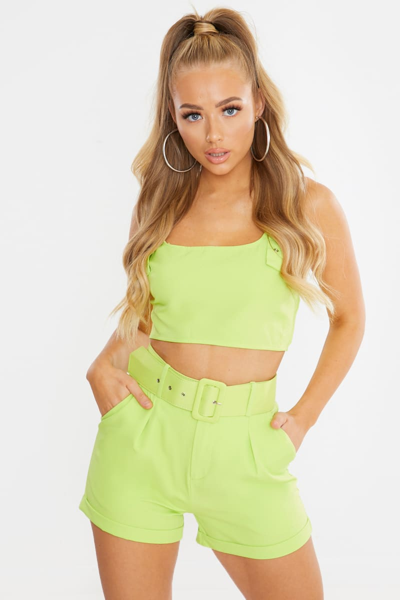 lime belted tailored shorts