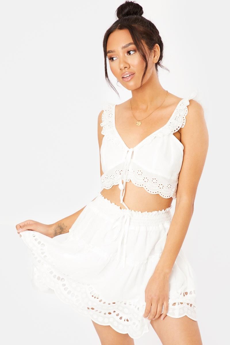 white cut out co-ord mini skirt