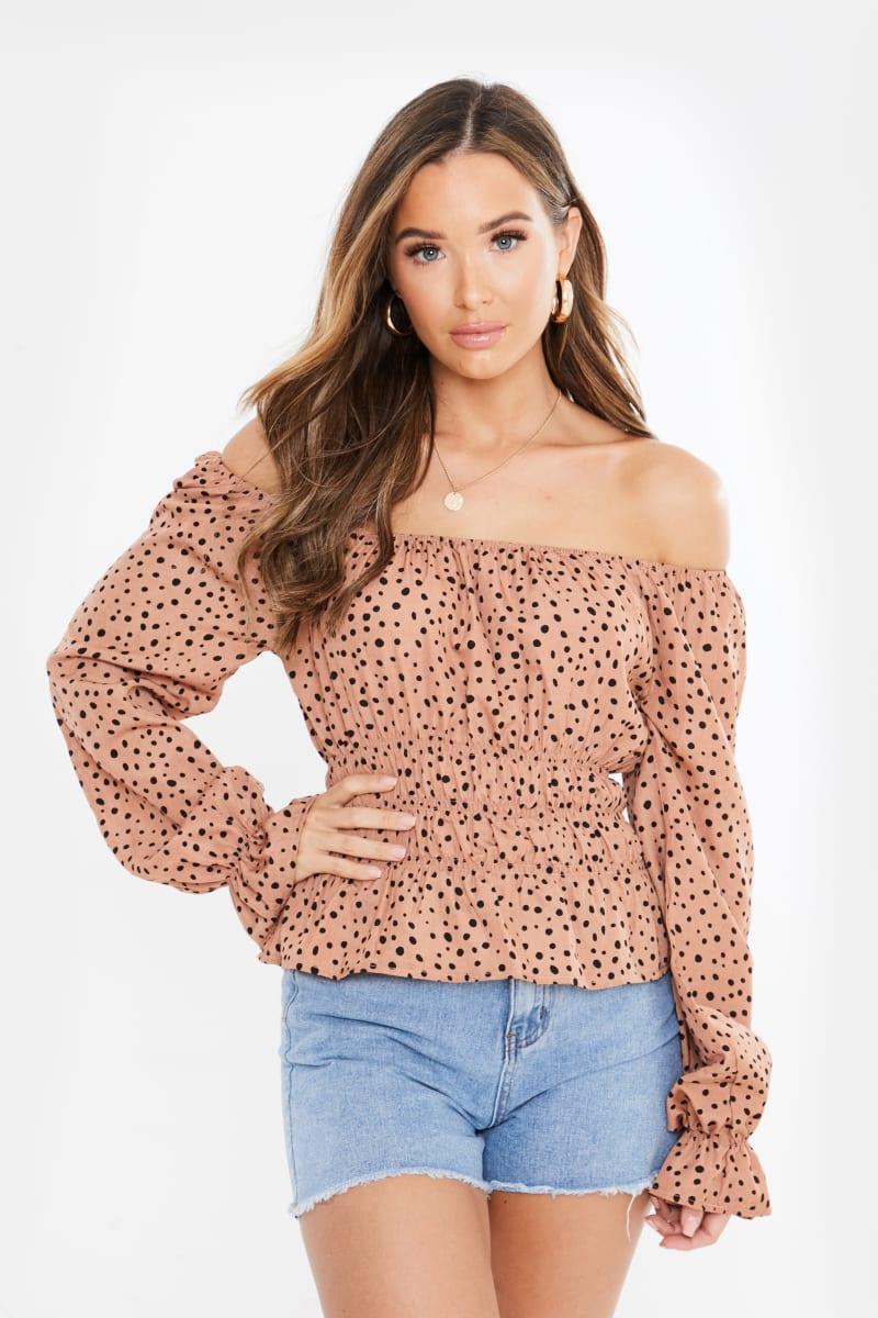 brown polka dot shirred waist flare cuff blouse