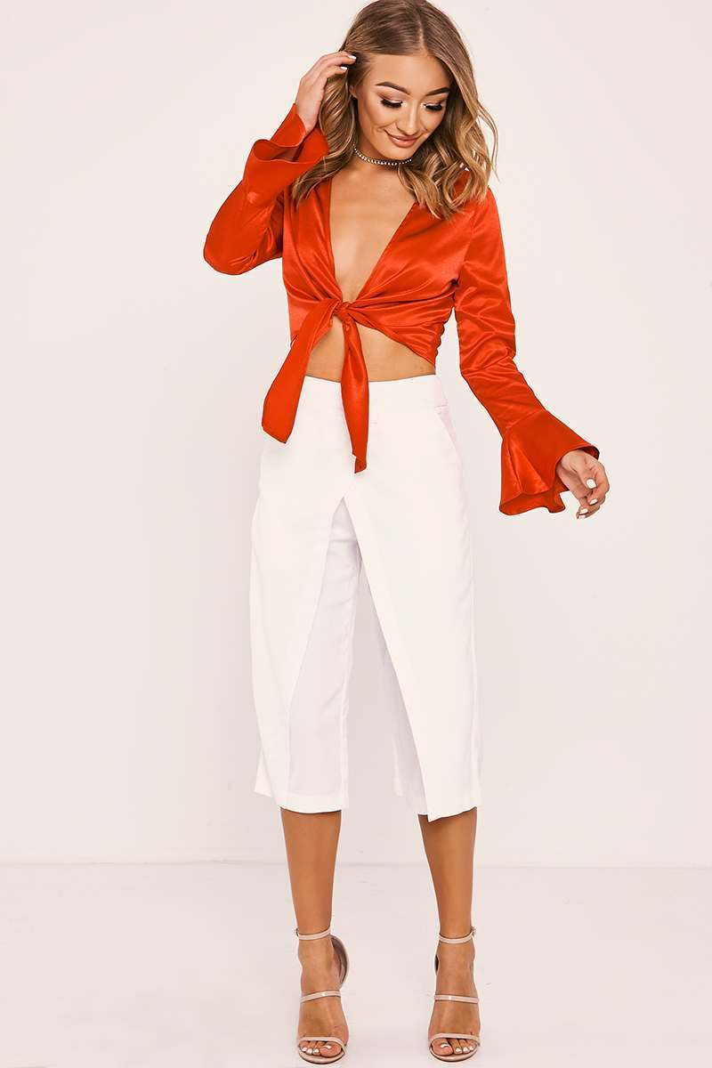 MARIAM WHITE OVERLAY CROPPED TROUSERS