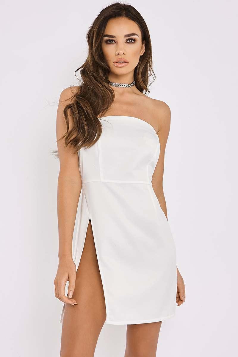 white bandeau thigh split mini dress