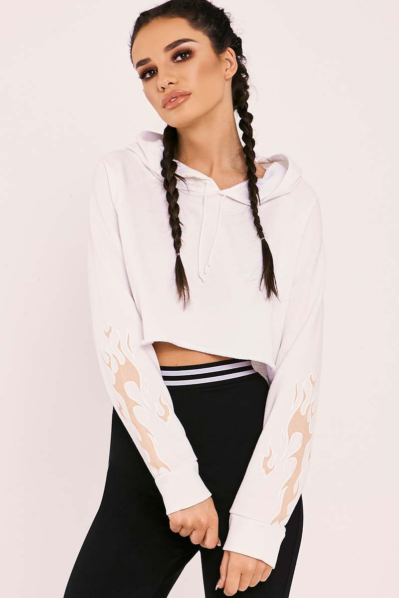 SARAH ASHCROFT WHITE FLAME CROPPED HOODIE