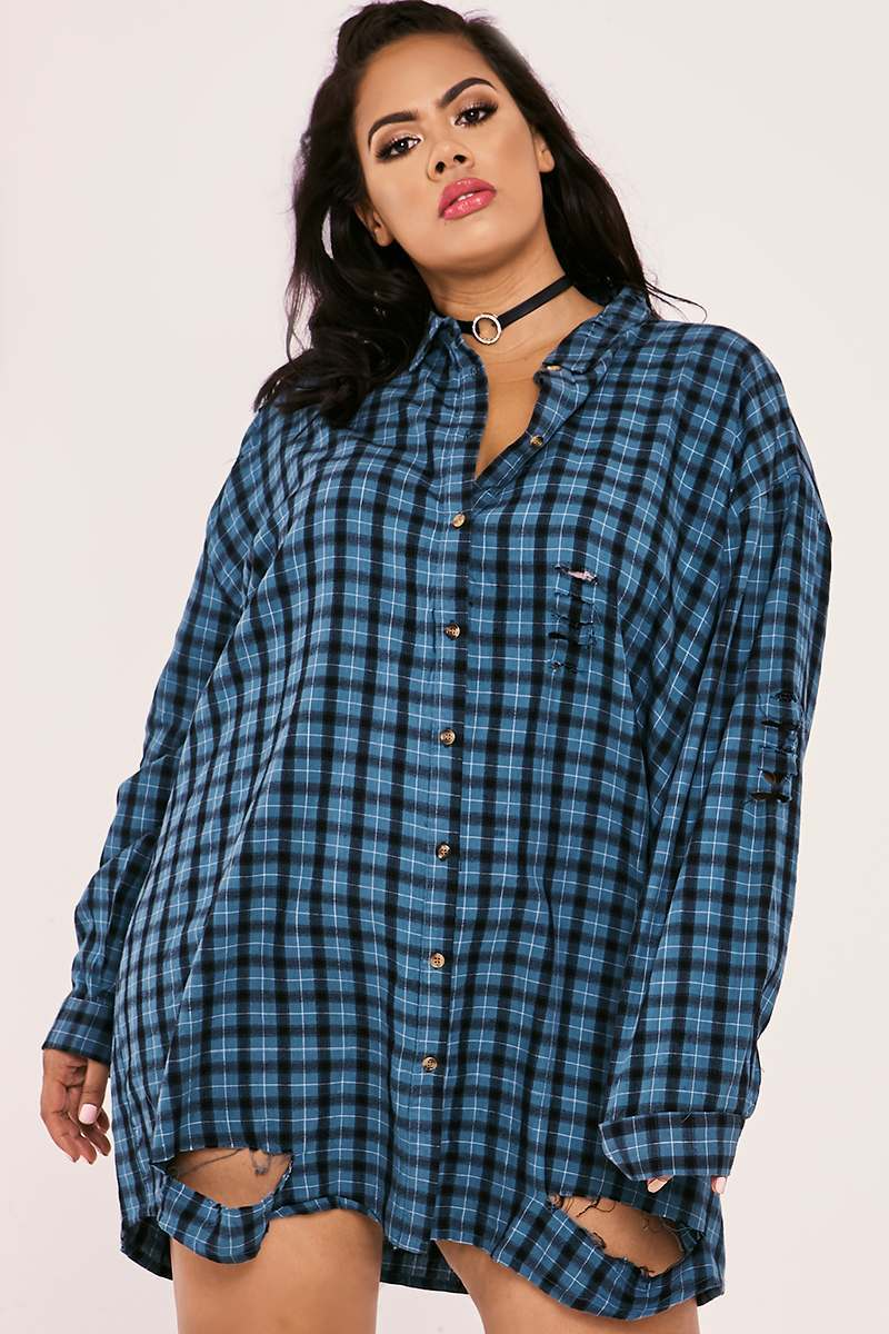 CURVE SARAH ASHCROFT TEAL CHECKED OVERSIZED SHIRT