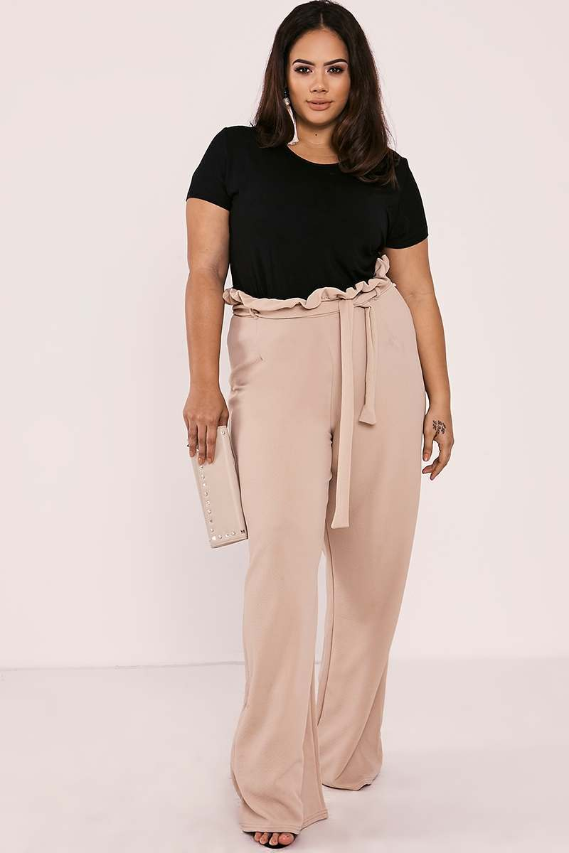 CURVE SARAH ASHCROFT NUDE FLARED HIGH WAISTED PAPERBAG TROUSERS