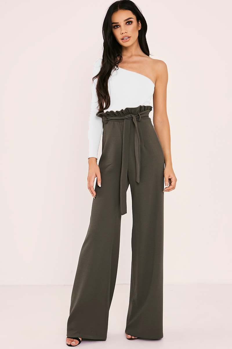 YAKAH TALL KHAKI FLARED HIGH WAISTED PAPERBAG TROUSERS