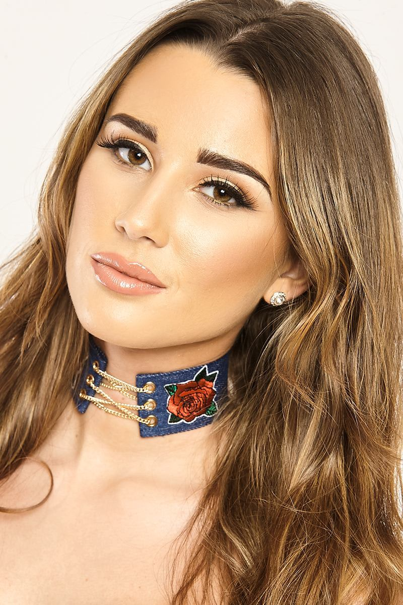 JAXTON DENIM LACE UP APPLIQUE CHOKER