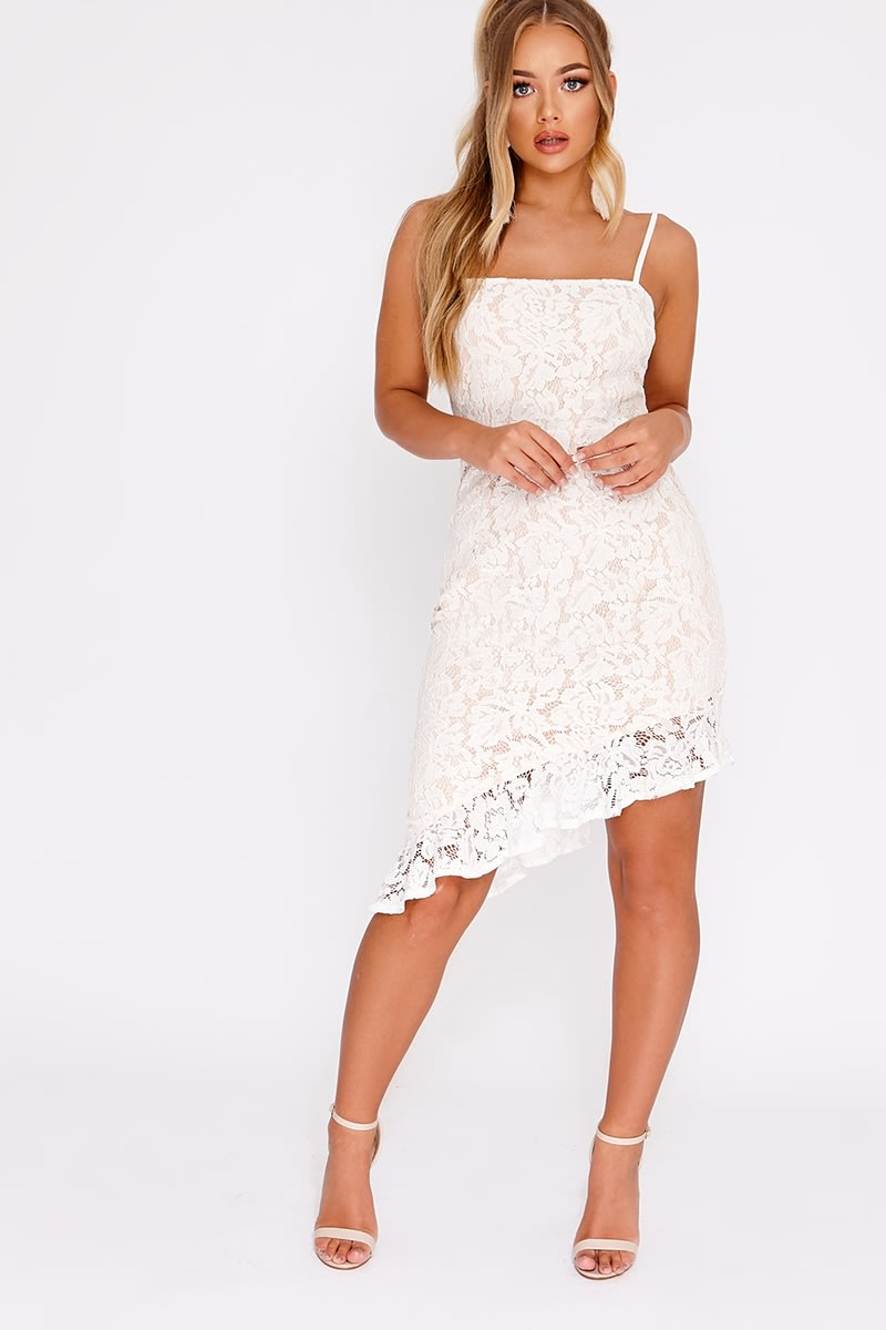 BILLIE FAIERS WHITE LACE ASYMMETRIC FRILL MIDI DRESS
