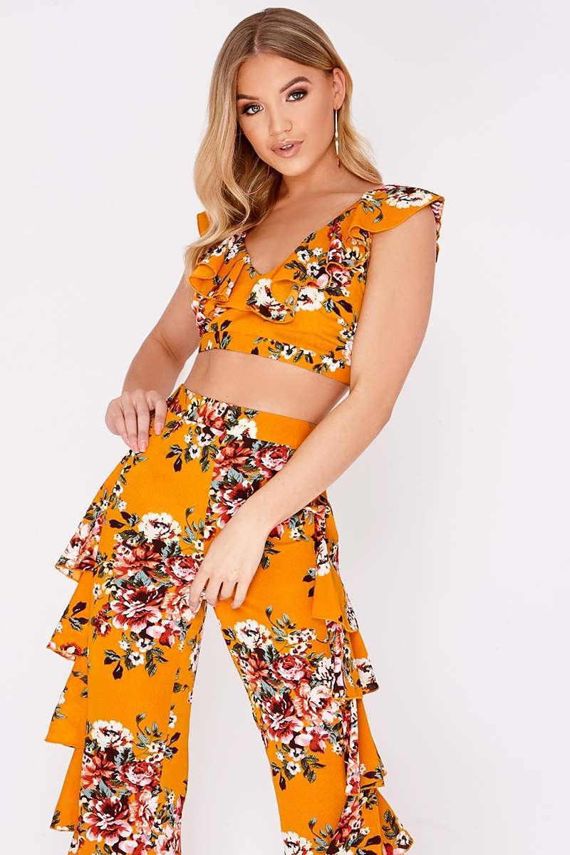 BILLIE FAIERS MUSTARD FLORAL FRILL CO ORD TOP