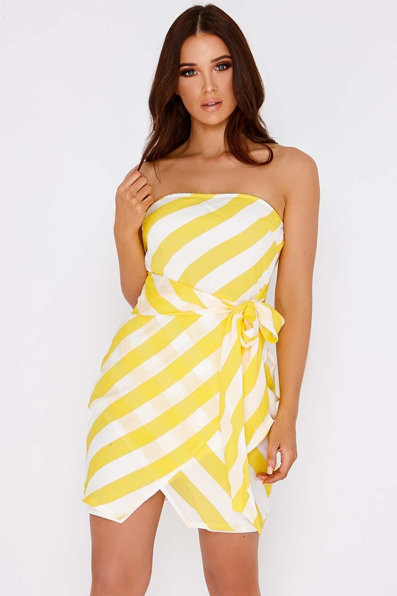 CHARLOTTE CROSBY YELLOW STRIPED TIE FRONT BANDEAU MINI DRESS
