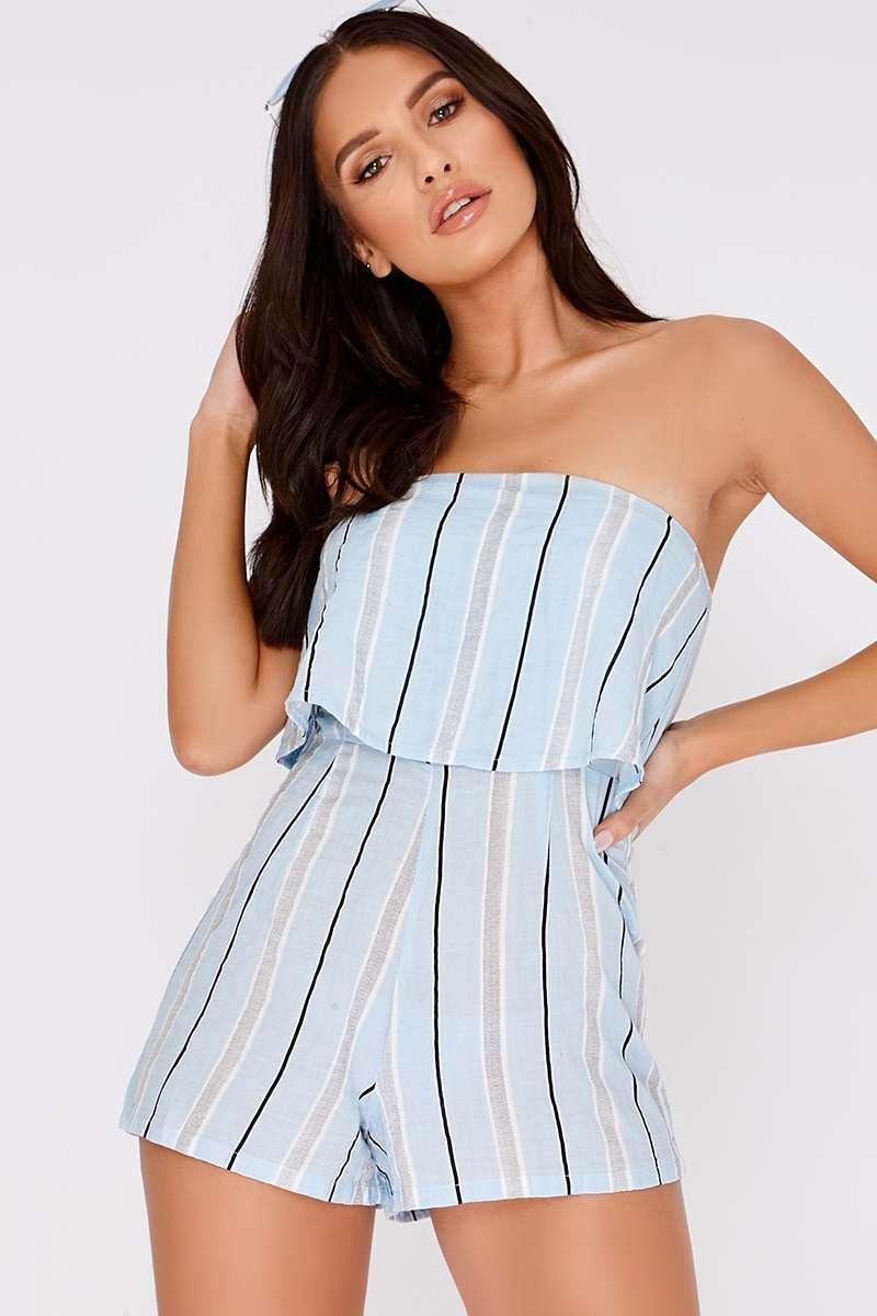 CHARLOTTE CROSBY BLUE STRIPED FRILL BANDEAU PLAYSUIT