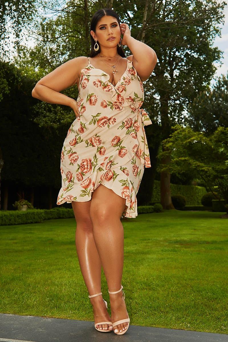 curve nude floral wrap frill mini dress
