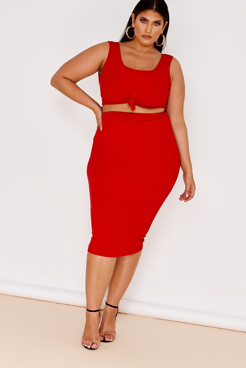 curve red ribbed high waisted co-ord skirt