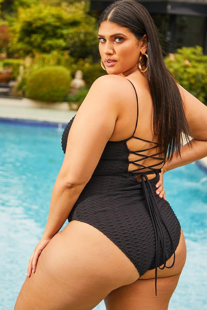 curve black lace up back textured swimsuit